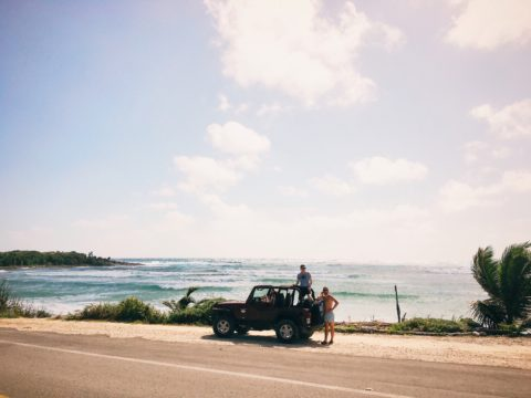 A road trip along the beach in Saipan